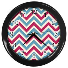Zig zags pattern Wall Clocks (Black)