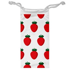 Fruit Strawberries Red Green Jewelry Bag