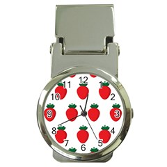 Fruit Strawberries Red Green Money Clip Watches