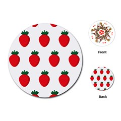 Fruit Strawberries Red Green Playing Cards (round)