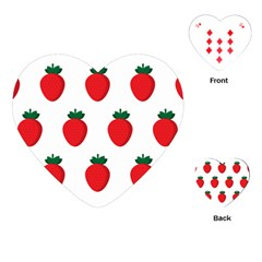 Fruit Strawberries Red Green Playing Cards (heart)