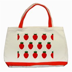 Fruit Strawberries Red Green Classic Tote Bag (red)