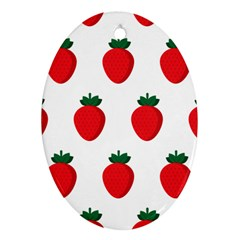Fruit Strawberries Red Green Oval Ornament (two Sides)