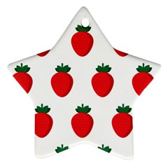 Fruit Strawberries Red Green Star Ornament (two Sides)