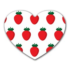 Fruit Strawberries Red Green Heart Mousepads