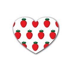 Fruit Strawberries Red Green Heart Coaster (4 Pack)