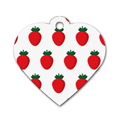 Fruit Strawberries Red Green Dog Tag Heart (one Side)