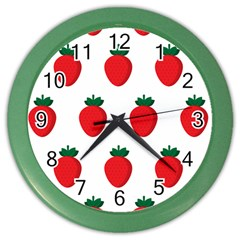 Fruit Strawberries Red Green Color Wall Clocks