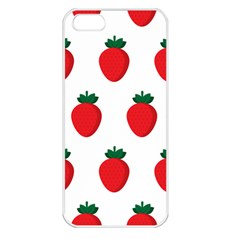 Fruit Strawberries Red Green Apple Iphone 5 Seamless Case (white)