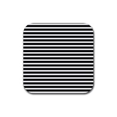Horizontal Stripes Black Rubber Square Coaster (4 Pack)