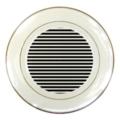 Horizontal Stripes Black Porcelain Plates