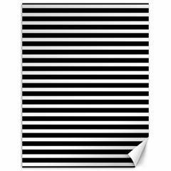 Horizontal Stripes Black Canvas 12  X 16