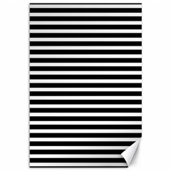 Horizontal Stripes Black Canvas 12  X 18