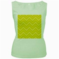 Zig zags pattern Women s Green Tank Top