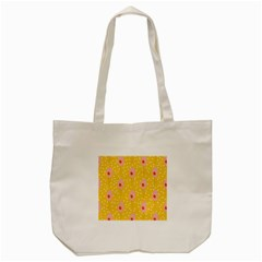 Flower Floral Tulip Leaf Pink Yellow Polka Sot Spot Tote Bag (cream)