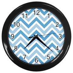 Zig zags pattern Wall Clocks (Black)