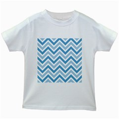 Zig zags pattern Kids White T-Shirts