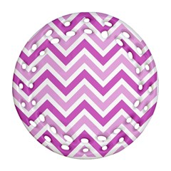 Zig Zags Pattern Round Filigree Ornament (two Sides)