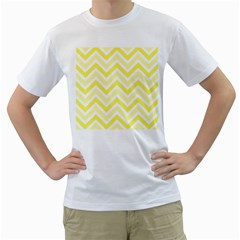 Zig zags pattern Men s T-Shirt (White) (Two Sided)