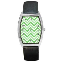 Zig zags pattern Barrel Style Metal Watch