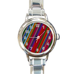 Color Stripes Pattern Round Italian Charm Watch