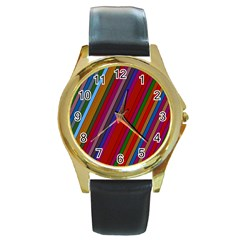 Color Stripes Pattern Round Gold Metal Watch