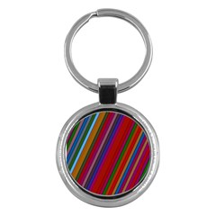 Color Stripes Pattern Key Chains (Round)