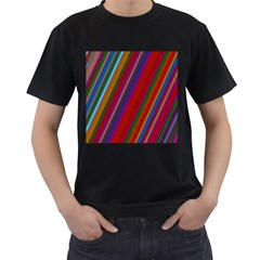 Color Stripes Pattern Men s T Shirt (black) (two Sided)