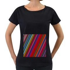 Color Stripes Pattern Women s Loose Fit T Shirt (black)