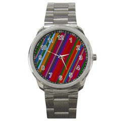 Color Stripes Pattern Sport Metal Watch