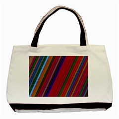 Color Stripes Pattern Basic Tote Bag (two Sides)