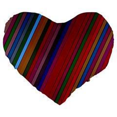 Color Stripes Pattern Large 19  Premium Heart Shape Cushions
