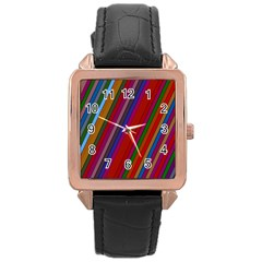 Color Stripes Pattern Rose Gold Leather Watch