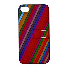 Color Stripes Pattern Apple iPhone 4/4S Hardshell Case with Stand