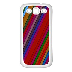 Color Stripes Pattern Samsung Galaxy S3 Back Case (White)