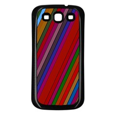 Color Stripes Pattern Samsung Galaxy S3 Back Case (Black)