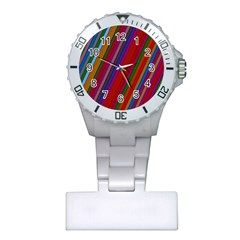 Color Stripes Pattern Plastic Nurses Watch