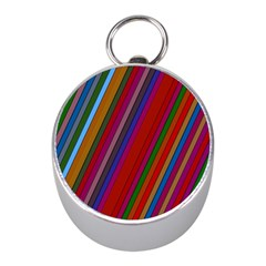 Color Stripes Pattern Mini Silver Compasses