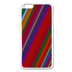 Color Stripes Pattern Apple iPhone 6 Plus/6S Plus Enamel White Case