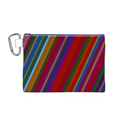 Color Stripes Pattern Canvas Cosmetic Bag (M)