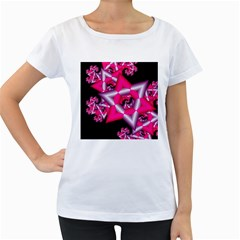 Star Of David On Black Women s Loose-Fit T-Shirt (White)
