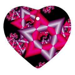 Star Of David On Black Heart Ornament (two Sides)