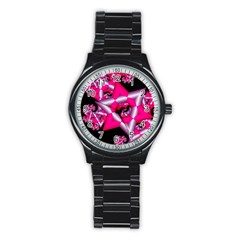 Star Of David On Black Stainless Steel Round Watch