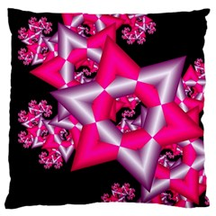 Star Of David On Black Large Flano Cushion Case (Two Sides)