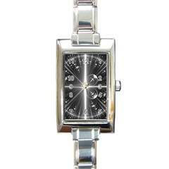 Black And White Bubbles On Black Rectangle Italian Charm Watch
