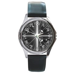 Black And White Bubbles On Black Round Metal Watch