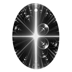 Black And White Bubbles On Black Ornament (Oval)