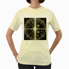Black And White Bubbles On Black Women s Yellow T Shirt
