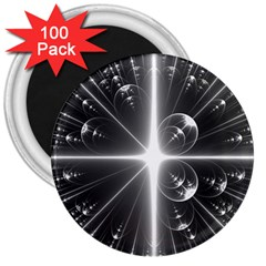 Black And White Bubbles On Black 3  Magnets (100 Pack)