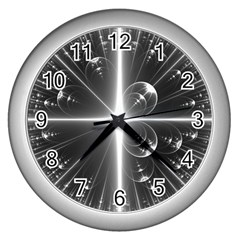 Black And White Bubbles On Black Wall Clocks (Silver)